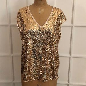 EUC NY&Co gold sequin sleeveless tank top Medium